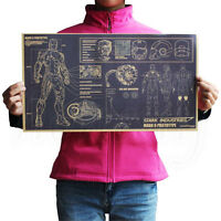 Vintage Iron Man Design DrawingsPosters Kraft paper Home Decoration 51.5 X 29cm