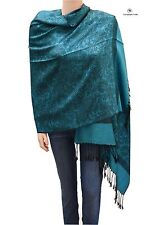 Elegant Jacquard Paisley Pashmina Shawl Scarf Stole Blue and Black for Women