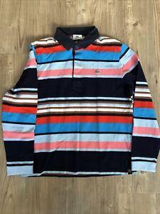 Lacoste Polo Long Sleeve Mens Medium Milticolour Stripe Rugby Collar