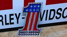 vintage nos Harley AMF #1 Reflective DECAL Evel Knievel obsolete red white blue