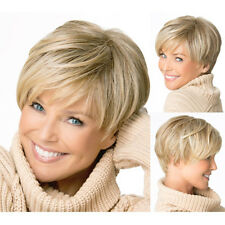 Elegant Gold Blonde Straight Short Synthetic Hair Wig for Adult Natural Looking