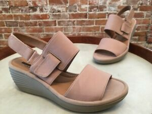Clarks Sand Nude Nubuck Leather Reedly Breen Ankle Strap Wedge Sandal 7 W SALE