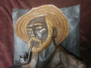 Folk Art Handcarved Wood Carving Portrait Vintage Brasil Sculpture Van Gogh