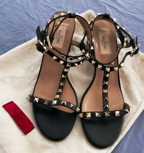 Valentino Garavani Rockstud CALFSKIN Leather Double Ankle Strap Shoes Size 40