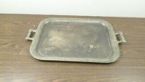 """Vintage 18 x 13"""" Metal Serving Tray w/ Handles, Leaf Border Design"""