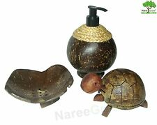 Set of Coconut Shell Natural Soap Dish, Bathroom Soap holder, Soap Dispensers