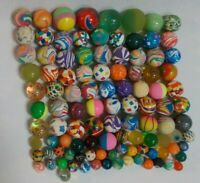 Lot of 105 Rubber Bouncy Balls 9.5 lbs Various Sizes Marble Swirl Sparkle