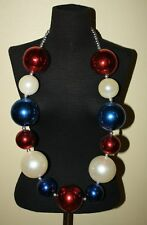 "Giant 3"" Red White Blue Ball New Orleans Mardi Gras / July 4Th Necklace Nice!"