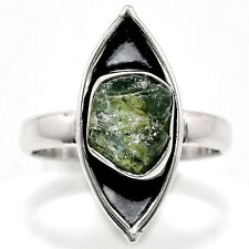 Green Apatite Rough Madagascar 925 Sterling Silver Ring s.6.5 Jewelry 3425
