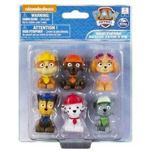 Paw Patrol Mini Figures Toy Set of 6 Rocky Zuma Skye  Rubble Marshall Chase