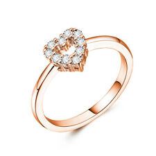 Ring Women Cubic Zirconia Size 6-10 Heart Shaped Silver Rose Gold Wedding Party