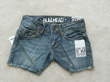 BULLHEAD JEAN SHORTS FRAY SHORT LOW RISE SLIM THROUGH THIGH.HOT WITH BOOTS!!