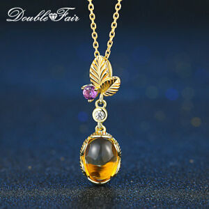 Natural Gem Citrine & Amethyst Yellow Gold Leaf Necklace Fine Jewelry For Women