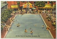 Old Linen Era 1940's Postcard De Soto Pool, De Soto Hotel, Savannah, Georgia GA