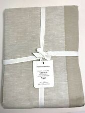 "William Sonoma Jacquard Tablecloth Beige Cotton Linen 70"" x 108"" NWT"