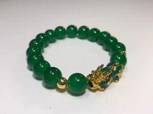 Natural Green Jade Bracelet Pi Xiu Yao Xie Dragon Feng Shui Fortune Luck Power