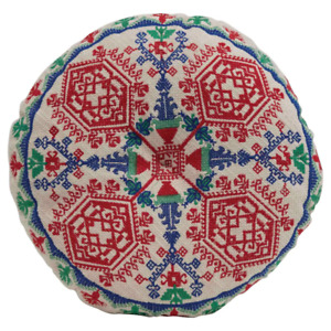 Multi-Colored Cotton Embroidered Floor Cushion
