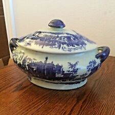 Antique Asian Soup Toureen with Lid in Cobalt Blue on Grey Porcelain