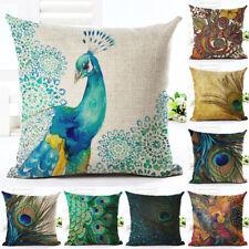 """18"""" Nordic Peacock Pillow Case Sofa Bedroom Home Decor Throw Linen Cushion Cover"""