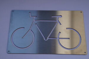 Bicycle Sign Stainless Steel Pictogram Bicycle Stand Fahrradabstellplatz