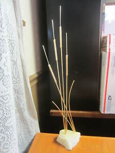 """White Stone With Gold Metal Cat Tails-Art Display-21 1/2"""" Tall-Signed"""