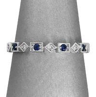 2Ct Round Cut Blue Sapphire Diamond Milgrain Wedding Band 14K White Gold Finish
