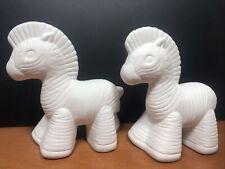 2 Unpainted Ceramic Zebras Figurine 4� H White New