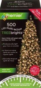 Premier 500 LED Multi-Action TreeBrights Christmas Tree Lights Timer WARM WHITE
