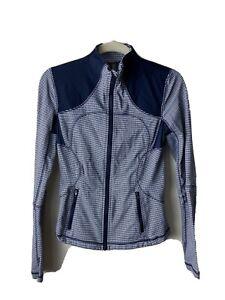 lululemon forme jacket 6 Inkwell Blue Gingham Plaid Zip Up Thumb Holes Active