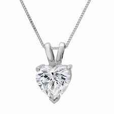 "2.0 ct Heart Cut Solid 14K White Gold Solitaire Pendant Necklace +16"" Chain"