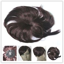 cherry red clip in fringe bangs hide bald grey hairpiece extension toupee