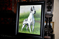 spectacular Vintage Great Dane Dog  painting