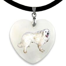 Great Pyrenees Dog Natural Mother Of Pearl Heart Pendant Necklace Chain PP259