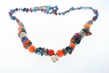 Sterling India Indian Amber Turquoise Treasure Necklace