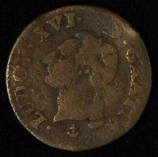 1791 France 1/2 Sol Louis XVI 6 Deniers Coin - Free Shipping USA
