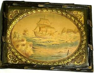 VINTAGE PAPER CAST SAILING SHIP 3D PAINTING - MADE IN GERMANY
