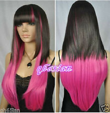 NEW! women girl black and pink mixed long straight Cosplay wigs + wig cap