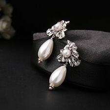 Boucles d`Oreilles Clous Argenté Gros Perle Goutte Brillant Mariage Vintage XX15