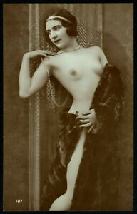 Original 1910 French Risque Postcard Photo Delicate Voluptuous Nude Girl Posing