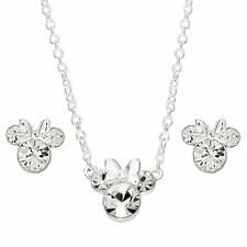 More details for disney minnie mouse clear crystal necklace and earring set