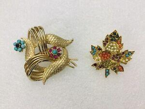 vintage Goldtone Brushed coro Ribbon Rhinestones / D'orlan Maple Leaf Jewels Bro