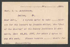 Ca 1896 PC DALLAS OR PATRON AGREES TO BUY TICKETS TO HEAR POET OF THE SEE INFO