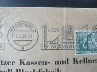"GERMANY STAMPS  USED REICH COVER ""1934 MANNHEIM CANCELS"" NICE CANCELS!"