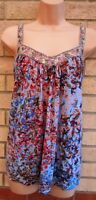 NEXT BLUE MULTI COLOUR FLORAL BEADED STRAPPY BAGGY BLOUSE TUNIC TOP VEST 8 S