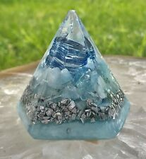 Orgone Orgonite® Pyramid - (2.25 x 2.25 inches) - Quartz/Aquamarine