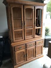 Antique Curio Cabinet - Two Piece Unit With Decorative Glass