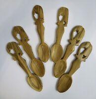 Hand Carved Kenya Wood Spoons Elephant Handles Set Of 6