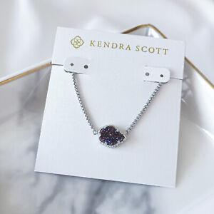 Kendra Scott Tess Silver Pendant Long Necklace In multicolors Drusy