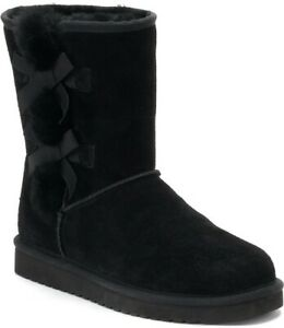 Koolaburra by Ugg Womens Girls Victoria Short Ankle Boots in Black Suede, Size 3