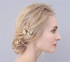 Dorado Cristal Nupcial Cabello Flor Diamantes de Imitación Tocado Boda Accesorios Cilp